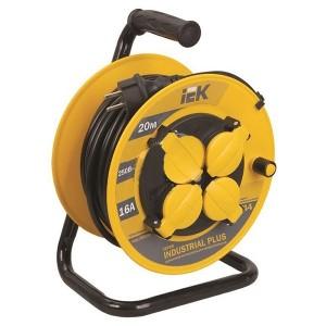 Удлинитель на катушке IEK Industrial plus 20м 3х1,5мм 16А IP44 4 розетки с термозащитой