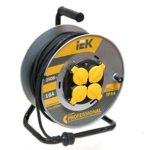 Удлинитель на металлической катушке IEK Professional 30м КГ-3х2,5мм 16А IP44 4 роз. с термозащитой