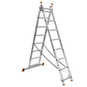 Лестница алюминиевая, ЛА2х7, 2х секционная х 7 ступеней, h2880 мм, народная