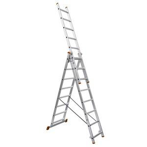 Лестница алюминиевая, ЛА3х10, 3х секционная х 10 ступеней, h6270 мм, народная