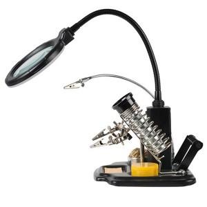 Держатель «Третья рука» ПРОФИ с лупой х3, подставка под паяльник, LED подсветка, стенд для припоя RE