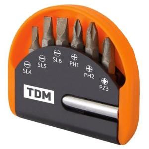 Набор бит 6 штук + держатель 60мм Алмаз №1 сталь CR-V TDM