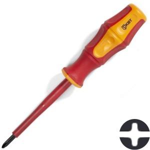 Диэлектрическая отвертка крест-шлиц PlusMinus PH/FL1 80мм КВТ «Профи» VDE 1000В