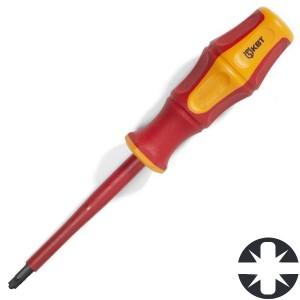 Диэлектрическая отвертка крест-шлиц PlusMinus PZ/FL1 80мм КВТ «Профи» VDE 1000В
