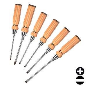 Набор отверток с деревянной ручкой из бука 6 штук Wera 930/935/6