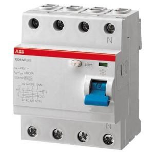 УЗО ABB F204 AC-125/0,1 4-х полюсное тип AC 125A 100mA 4 модуля