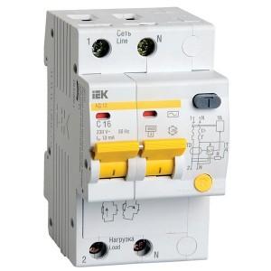 Дифференциальный автомат АД12 2Р С16А  10мА тип АС ИЭК