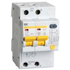Дифференциальный автомат АД12 2Р С16А  30мА тип АС ИЭК