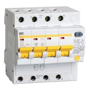 Дифференциальный автомат АД14 4Р  С6А 10мА тип АС ИЭК