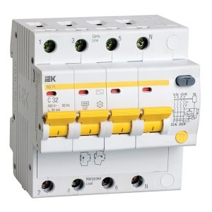 Дифференциальный автомат АД14 4Р С32А  30мА тип АС ИЭК