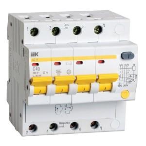 Дифференциальный автомат АД14 4Р С40А  30мА тип АС ИЭК