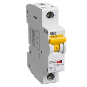 Автоматический выключатель ВА 47-60 1Р 16А 6 кА характеристика С ИЭК (автомат)