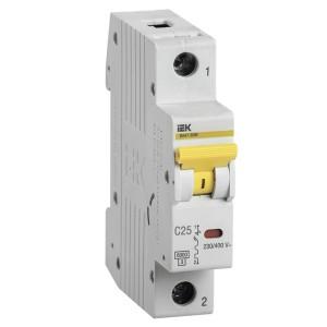 Автоматический выключатель ВА 47-60 1Р 25А 6 кА характеристика С ИЭК (автомат)