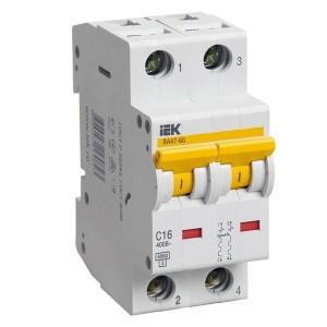 Автоматический выключатель ВА 47-60 2Р 50А 6 кА характеристика С ИЭК (автомат)