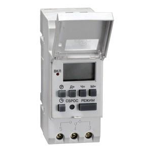 Таймер ТЭ15 цифровой недельный 16А 230В на DIN-рейку 1НО/НЗ 16 циклов, резерв питания ИЭК 3 модуля