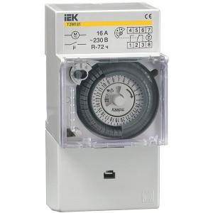 Таймер ТЭМ181 аналоговый суточный 16А 230В на DIN-рейку 1НО/НЗ резерв питания ИЭК 3 модуля