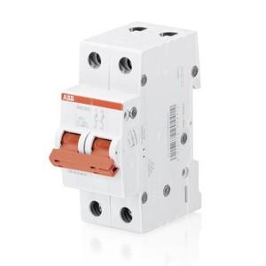 Рубильник модульный ABB 2-полюсный SHD202/16 рычаг красный