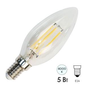 Лампа филаментная светодиодная свеча Feron LB-68 5W 4000K 230V 550lm E14 DIM filament белый свет