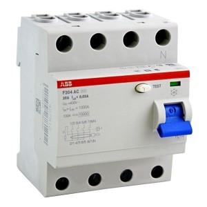 УЗО ABB F204 A S-40/0,3 4-х полюсное тип A S селективное 40A 300mA 4 модуля
