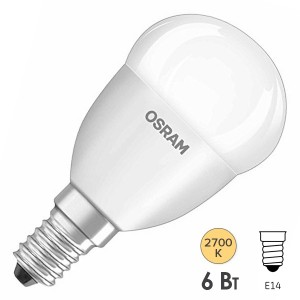 Лампа светодиодная шарик Osram LED CLAS P FR 40 6W/827 DIM 470lm 220V E14