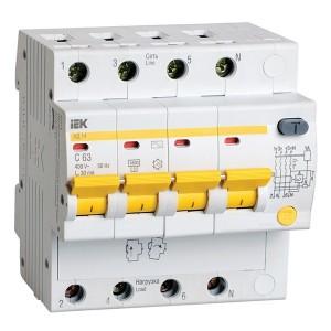 Дифференциальный автомат АД14 4Р С25А  300мА тип АС ИЭК