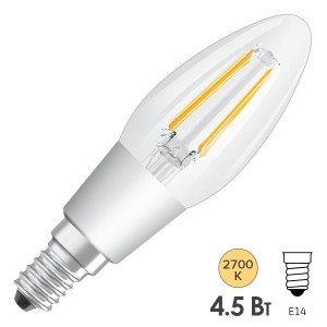 Лампа филаментная светодиодная свеча Osram LED P Retrofit CLAS B 40 DIM 4.5W/827 CL E14 Filament
