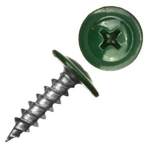 Саморез по металлу СММ 4,2х16 острый с прессшайбой темно-зеленый (ведро 200шт)