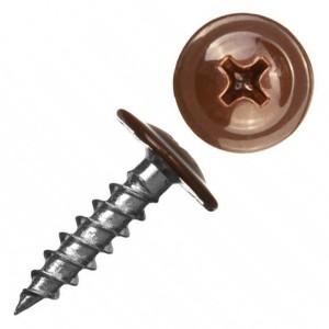 Саморез по металлу СММ 4,2х16 острый с прессшайбой темно-коричневый (ведро 200шт)