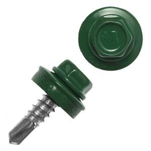 Саморез кровельный 4,8х28 окрашенный RAL-6002 зелёный (ведро 300шт)