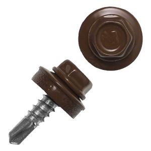 Саморез кровельный 4,8х28 окрашенный RAL-8017 коричневый (ведро 300шт)