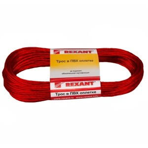 Трос стальной d2.5 мм в красной ПВХ изоляции, моток 20 метров