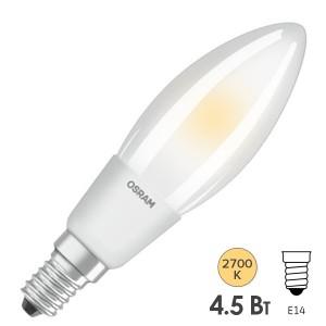 Лампа филаментная светодиодная свеча Osram LED P Retrofit CLAS B 40 DIM 4.5W/827 FR E14 Filament