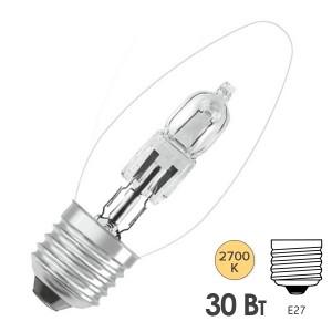 Лампа галогенная свеча Osram 64542 В ES 30W (40W) 230V E27 405lm 2000h d35x98,5mm