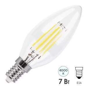 Лампа филаментная светодиодная свеча Feron LB-166 7W 230V E14 4000K 760lm DIM filament белый свет