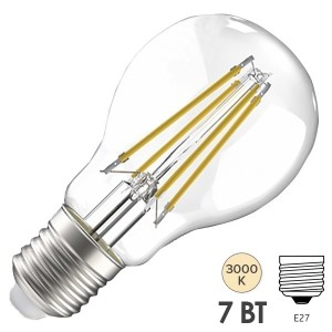 Лампа LED A60 шар прозрачный 7Вт 230В 3000К E27 серия 360° IEK