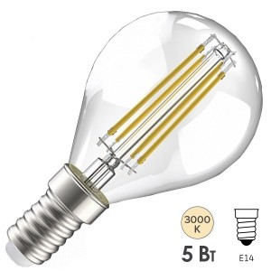 Лампа LED G45 шар прозрачный 5Вт 230В 3000К E14 серия 360° IEK