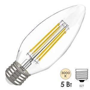 Лампа LED C35 свеча прозрачная 5Вт 230В 3000К E27 серия 360° IEK 615845