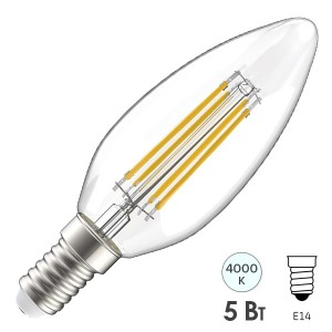 Лампа LED C35 свеча прозрачная 5Вт 230В 4000К E14 серия 360° IEK 615876