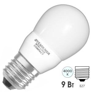 Лампа энергосберегающая SYLVANIA ML COMP BALL 9W 840 220V E27 d45x88mm