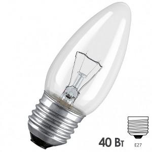Лампа накаливания свеча Osram CLASSIC B CL 40W E27 прозрачная
