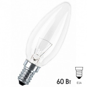 Лампа накаливания свеча Osram CLASSIC B CL 60W E14 прозрачная
