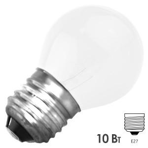 Лампа FOTON DECOR P45 CL 10W E27 WHITE 230V МАТОВАЯ