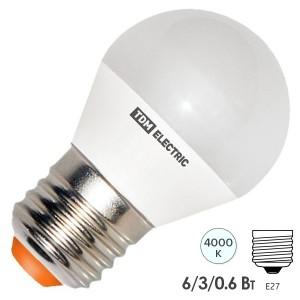 Лампа светодиодная FG45 6W 4000K 230V E27 DIM (3 режима яркости) TDM