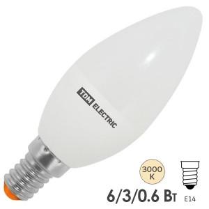Лампа светодиодная С37 6W 3000K 230V E14 DIM (3 режима яркости) TDM