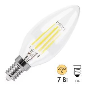 Лампа филаментная светодиодная свеча Feron LB-166 7W 230V E14 2700K 740lm DIM filament теплый свет