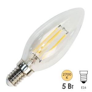 Лампа филаментная светодиодная свеча Feron LB-68 5W 2700K 230V 530lm E14 DIM filament теплый свет