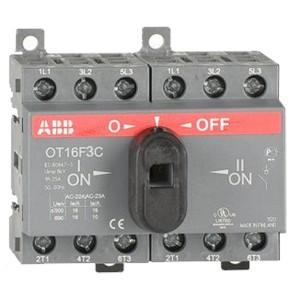 Реверсивный рубильник OT16F3C до 16A 3х полюсный для установки на DIN-рейку или плату (c ручкой)