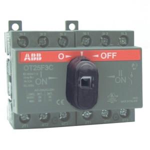 Реверсивный рубильник OT25F3C до 25A 3х полюсный для установки на DIN-рейку или плату (c ручкой)