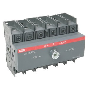 Реверсивный рубильник OT100F3C до 100A 3х полюсный для установки на DIN-рейку или плату (без ручки)