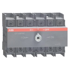 Реверсивный рубильник OT125F3C до 125A 3х полюсный для установки на DIN-рейку или плату (без ручки)